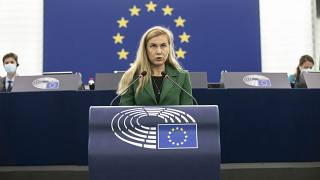 European Commissioner for Energy Kadri Simson delivers her speech at the European Parliament in Strasbourg.