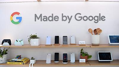 Google products are displayed during the Google I/O conference at Shoreline Amphitheatre in Mountain View, California on May 7, 2019.