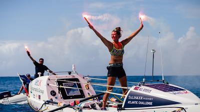Jasmine at the finish line in Antigua, having rowed over 5,000 kilometres