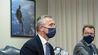 NATO-Generalsekretär Jens Stoltenberg im Gespräch mit US-Verteidigungsminister Lloyd Austin  im Pentagon, 4.10.2021