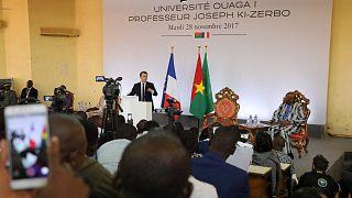 Archives : le président français, Emmanuel Macron, lors d'une visite à l'université de Ouagadougou, au Burkina Faso, le 28 novembre 2017