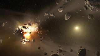 صحنه بازسازی شده از انفجار یک سیارک