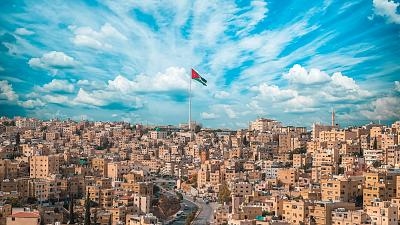 An aerial shot of Amman, capital city of Jordan