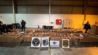 طرود تحتوي على حوالي خمسة أطنان من الكوكايين تم ضبطها في ميناء ريو دي جانيرو ، البرازيل ، في 5 أكتوبر 2021.