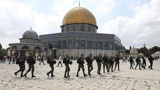 عناصر القوات الإسرائيلية في ساحة المسجد الأقصى في القدس. 2021/09/10