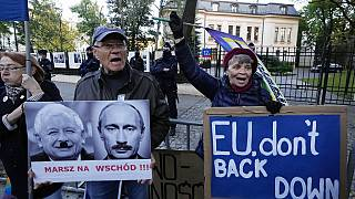People stage a protest in front of Poland's constitutional court, in Warsaw, Poland, Thursday, October 7, 2021.