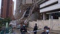 Scaffolding collapses in Hong Kong amid storms