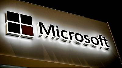 This picture shows the Microsoft logo at the International Cybersecurity Forum (FIC) in Lille on January 28, 2020.