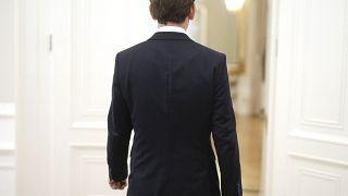 Bundeskanzler Sebastian Kurz nach seinem Statement im Kanzleramt Freitagabend