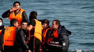 Migrants seen leaving France on boats for UK