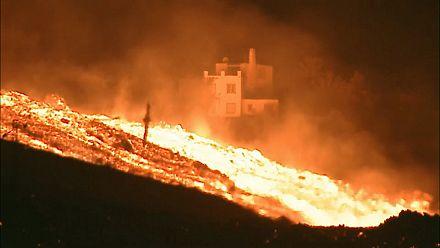 Firefighters on scene near La Palma volcano