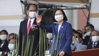 Taiwan's President Tsai Ing-wen, right, and Yu Shyi-kun, speaker of the Legislative Yuan during National Day celebrations in Taipei, Taiwan, Oct. 10, 2021.
