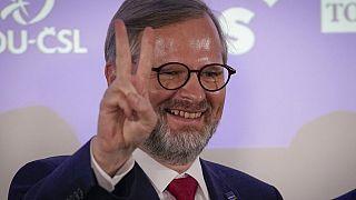 Petr Fiala, líder da coligação Juntos (Spolu), após a vitória