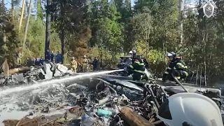 أرشيف- تحطم طائرة عسكرية من طراز إليوشن IL-112V خارج موسكو.