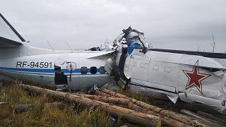 The wreckage at a site of the L-410 plane crash near the town of Menzelinsk in the Republic of Tatarstan, Russia, on on October 10, 2021.