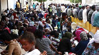 Sit-in de réfugiés africains devant le bureau local du Haut Commissariat des Nations Unies pour les réfugiés (HCR), Tripoli (Libye), le 09/10/2021
