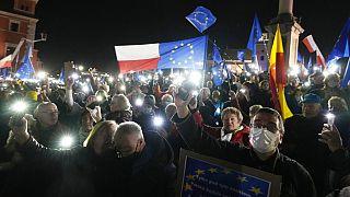 Manifestation pro-européenne ce dimanche à Varsovie (Pologne), le 10/10/2021