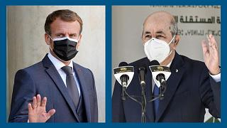 Le président français Emmanuel Macron (g.), le président algérien Abdelmadjid Tebboune (dr.)