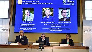 Les photos des trois lauréats américains du prix Nobel d'économie, David Card, Joshua Angrist et Guido Imbens.
