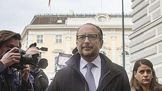 Austria's Foreign Minister Alexander Schallenberg arrives to meet Austria's President at Ballhausplatz in Vienna, on October 10, 2021.