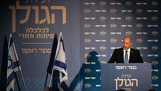 رئيس الوزراء الإسرائيلي نفتالي بينيت يتحدث خلال مؤتمر حول الاقتصاد والتنمية الإقليمية في مرتفعات الجولان، 11 أكتوبر 2021.