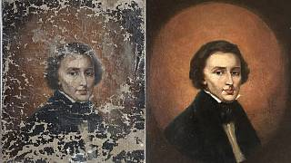 A portrait of Polish composer Frederic Chopin before and after restoration.