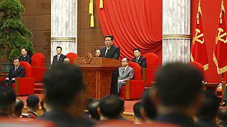 Nordkoreas Staatschef Kim Jong Un, spricht zur Feier des 76. Jahrestages der Arbeiterpartei des Landes in Pjöngjang, Nordkorea, 10.10.2021