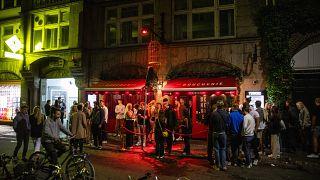 Revellers pictured outside La Boucherie on Vestergade in central Copenhagen.