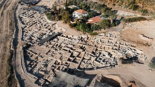 An aerial picture taken by a drone shows a massive ancient winemaking complex dating back some 1,500 years in Yavne, south of Tel Aviv, Israel, Monday, Oct. 11, 2021.