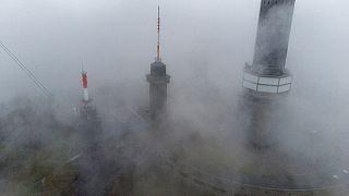 Nebel am Feldberg bei Frankfurt am Mai im Oktober 2021