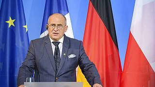 Polish Foreign Minister Zbigniew Rau at a news conference with his German and French counterparts to mark the 30th anniversary of the 'Weimar Triangle', Weimar, Sept. 10, 2021