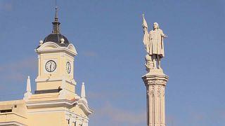 Monumento a Cristóbal Colón en la ciudad de Madrid, España.