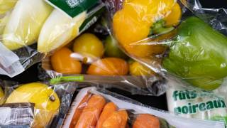 Fruit and vegetables in plastic packaging