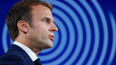 """France's President Emmanuel Macron speaks during the presentation of """"France 2030"""" investment plan at The Elysee Presidential Palace in Paris, on October 12, 2021."""