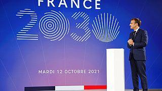 """الرئيس الفرنسي، إيمانويل ماكرون، خلال عرض خطة استثمار """"فرنسا 2030"""" في قصر الإليزيه في باريس، فرنسا، الثلاثاء 12 أكتوبر 2021."""