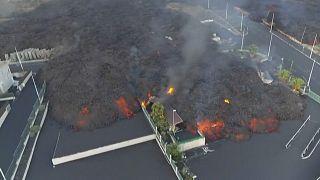 Aerial shot lava and smoke at the industrial park Callejón de la Gata