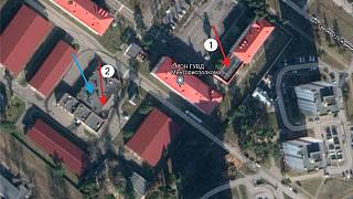 The OMON base in Minsk's 120th Division Heroes Street that cyber-activists claim to have attacked with a drone