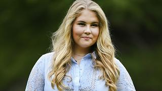 Netherlands' Princess Amalia poses in the garden of royal palace Huis ten Bosch in The Hague, Netherlands, July 17, 2020 .