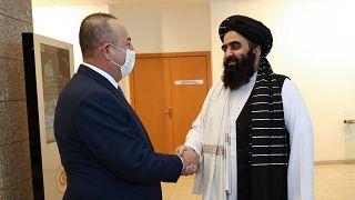 Çavuşoğlu, Taliban heyetiyle bir araya geldi