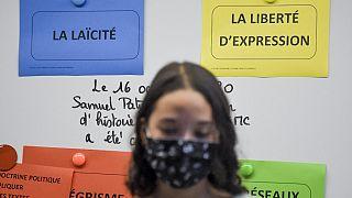 Archive : Minute de silence à la mémoire de Samuel Paty, dans un lycée près de Nantes, le 02/11/2020
