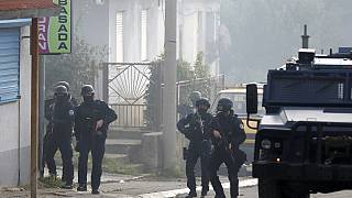 Kosovarische Polizei-Einheiten im Einsatz in Nord-Mitrovica