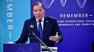 Swedens's Prime Minister Stefan Lofven speaks during the Malmo International Forum on Holocaust Remembrance and Combating Antisemitism, in Malmo, Sweden, on October 13, 2021.