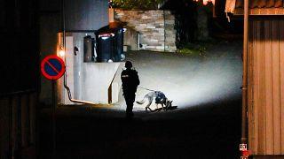 Un policier inspecte les lieux après une attaque avec un arc et des flèches qui a fait 5 morts à Kongsberg en Norvège, le 14 octobre 2021