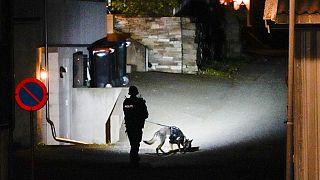 Un policía rastrea con un perro la zona del ataque con arco que dejó varios muertos en Kongsberg, Noruega
