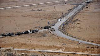 صورة لوكالة الأنباء السورية الرسمية (سانا) القوات السورية في مدينة تدمر الأثرية قرب حمص.