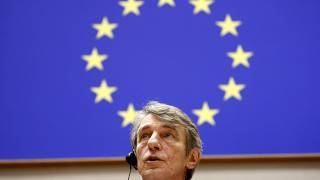 Председатель Европарламента Давид Сассоли объявляет лауреата премии Сахарова. 2020 год