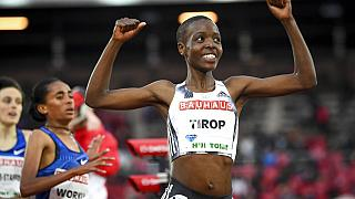 Agnes Tirop après sa victoire sur 1 500 mètres lors d'un meeting à Stockholm le 29/05/2019