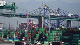 Contenedores en el puerto de Los Ángeles, Estados Unidos