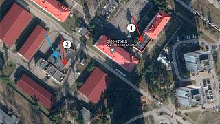 Der OMON-Stützpunkt Minsk, den Cyber-Aktivisten mit einer Drohne angegriffen haben wollen.