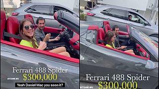 علي مخلوف برفقة عارضة أزياء، وهو يقود سيارة فيراري بقيمة 300 ألف دولارا في أحد شوارع بيفرلي هيلز في لوس أنجلوس